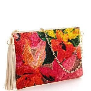 Textured PU Leather Clutch NWT